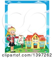 Clipart Of A Border Of A Blond Caucasian School Girl Holding An A Plus Report Card Royalty Free Vector Illustration