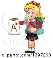 Blond Caucasian School Girl Holding An A Plus Report Card