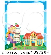 Clipart Of A Border Of A Blond Caucasian School Girl Holding A Stack Of Books Royalty Free Vector Illustration