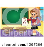 Clipart Of A Brunette Caucasian School Girl Holding An A Plus Report Card In A Class Room Royalty Free Vector Illustration