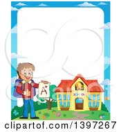 Clipart Of A Border Of A Brunette Caucasian School Boy Holding An A Plus Report Card Royalty Free Vector Illustration