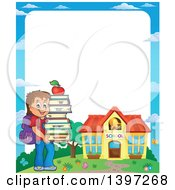 Clipart Of A Border Of A Brunette Caucasian School Boy Holding A Stack Of Books Royalty Free Vector Illustration