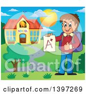 Clipart Of A Brunette Caucasian School Boy Holding An A Plus Report Card On Campus Royalty Free Vector Illustration
