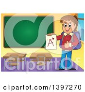 Clipart Of A Brunette Caucasian School Boy Holding An A Plus Report Card In A Class Room Royalty Free Vector Illustration