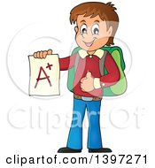 Clipart Of A Brunette Caucasian School Boy Holding An A Plus Report Card Royalty Free Vector Illustration
