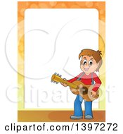 Clipart Of A Border Of A Brunette Caucasian Boy Playing A Guitar Royalty Free Vector Illustration by visekart