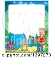 Clipart Of A Border Of A Brunette Caucasian Boy Playing A Guitar By A Camp Fire Royalty Free Vector Illustration by visekart