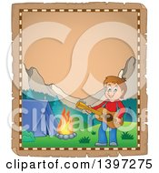Clipart Of A Parchment Page Of A Brunette Caucasian Boy Playing A Guitar By A Camp Fire Royalty Free Vector Illustration by visekart