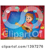 Clipart Of A Brunette Caucasian Boy Playing A Guitar With Music Notes On A Stage Royalty Free Vector Illustration by visekart