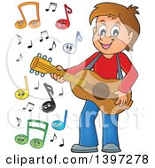 Clipart Of A Brunette Caucasian Boy Playing A Guitar With Happy Music Notes Royalty Free Vector Illustration by visekart