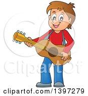 Brunette Caucasian Boy Playing A Guitar