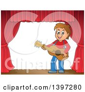 Clipart Of A Brunette Caucasian Boy Playing A Guitar On A Stage Royalty Free Vector Illustration by visekart