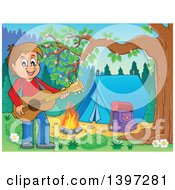Brunette Caucasian Boy Playing A Guitar By A Camp Fire