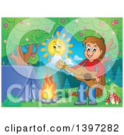 Clipart Of A Brunette Caucasian Boy Playing A Guitar By A Camp Fire Royalty Free Vector Illustration by visekart