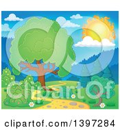 Clipart Of A Lush Tree With A Green Canopy And A Path On A Sunny Day Royalty Free Vector Illustration