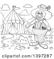 Clipart Of A Black And White Lineart Happy Clown Presenting A Big Top Circus Tent Royalty Free Vector Illustration