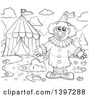 Clipart Of A Black And White Lineart Happy Clown Welcoming By A Big Top Circus Tent Royalty Free Vector Illustration