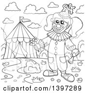 Clipart Of A Black And White Lineart Happy Clown Holding A Flower By A Big Top Circus Tent Royalty Free Vector Illustration