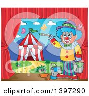 Poster, Art Print Of Happy Clown Painting A Circus Stage Backdrop