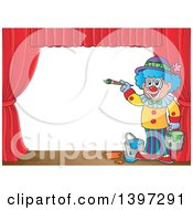 Poster, Art Print Of Happy Clown Painting A Stage Backdrop