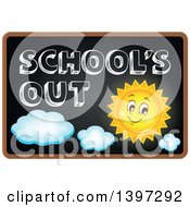 Clipart Of A Black Board With Schools Out Text And A Sun Royalty Free Vector Illustration