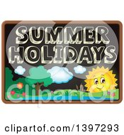 Clipart Of A School Black Board With Summer Holidays Text And A Landscape Royalty Free Vector Illustration