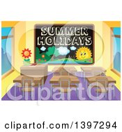Clipart Of A School Black Board With Summer Holidays Text And A Landscape In A Class Room Royalty Free Vector Illustration