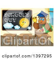 Professor Owl By A Black Board With Schools Out Text And A Sun