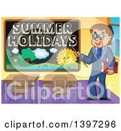 Happy Brunette Caucasian Male Teacher Pointing To A Summer Holidays Black Board