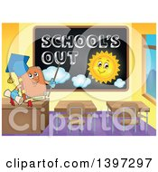Clipart Of A Professor Owl By A Black Board With Schools Out Text And A Sun Royalty Free Vector Illustration