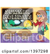 Happy Brunette Caucasian Female Teacher Pointing To A Summer Holidays Black Board