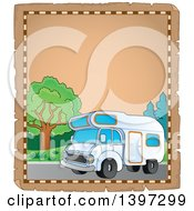 Clipart Of A Parchment Border Of A Camper Van Royalty Free Vector Illustration by visekart