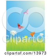 Poster, Art Print Of Two Butterflies Flying Over A Meadow Of Daisy And Poppy Wildflowers