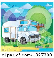 Clipart Of A Camper Van Parked At A Lake Shore Royalty Free Vector Illustration by visekart