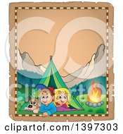 Clipart Of A Parchment Border Of A Dog Boy And Girl Resting In Their Tent By A Camp Fire Royalty Free Vector Illustration by visekart