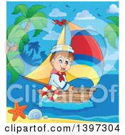 Clipart Of A Happy Caucasian Sailor Boy In A Tropical Bay Royalty Free Vector Illustration