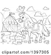 Black And White Lineart Fancy Circus Horse Prancing By A Big Top Tent