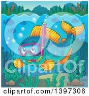 Clipart Of A Happy Snorkeling Fish Underwater Royalty Free Vector Illustration