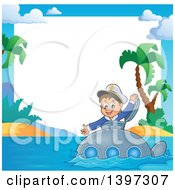 Clipart Of A Border Of A Happy Brunette Caucasian Sailor Boy Looking Out Of A Submarine Hatch Near A Tropical Island Royalty Free Vector Illustration by visekart