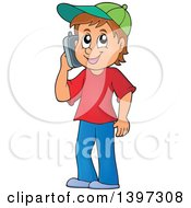 Clipart Of A Happy Brunette Caucasian Boy Talking On A Cell Phone Royalty Free Vector Illustration