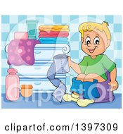 Cartoon Happy Blond Caucasian Boy Sitting On A Potty Training Chair And Holding Toilet Paper