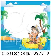 Clipart Of A Border Of A Happy Brunette Caucasian Sailor Boy In A Raft Or Emergency Boat Royalty Free Vector Illustration