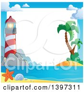 Clipart Of A Border Of A Lighthouse Sand And Palm Trees Royalty Free Vector Illustration
