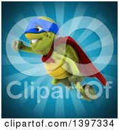 Clipart Of A 3d Green Tortoise Super Hero Royalty Free Illustration by Julos