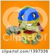 Clipart Of A 3d Green Tortoise Super Hero Royalty Free Illustration