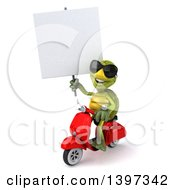 Clipart Of A 3d Green Tortoise Riding A Scooter On A White Background Royalty Free Illustration by Julos