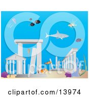 Sharks And Fish Swimming Around The Lost City Of Atlantis Underwater Clipart Illustration