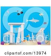 Sharks And Fish Swimming Around The Lost City Of Atlantis Underwater