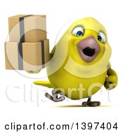Clipart Of A 3d Yellow Bird Holding Boxes On A White Background Royalty Free Illustration