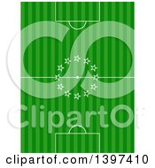 Clipart Of A Soccer Pitch With Stars In The Center Royalty Free Vector Illustration